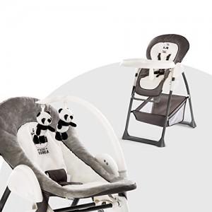 HauckSit-N-RelaxChaise-Haute-Bb-3-en-1-Transat-Bb-et-Chaise-pour-Enfantsavec-Position-Coucheavec-Arc-Jeu-Plateau-Repas-RouesRglable-en-HauteurvolutivePliable-wild-panda-noir-0